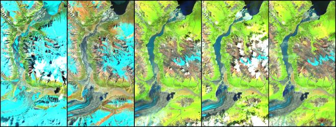 False colour SPOT5 image of the Slims River proglacial valley change in 2015